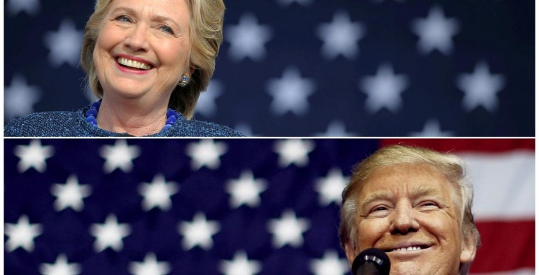 U.S. presidential nominees Hillary Clinton (top) and Donald Trump speak at campaign rallies in Cedar Rapids, Iowa, U.S. October 28, 2016 and Delaware, Ohio October 20, 2016 in a combination of file photos.   REUTERS/Brian Snyder/Jonathan Ernst/Files